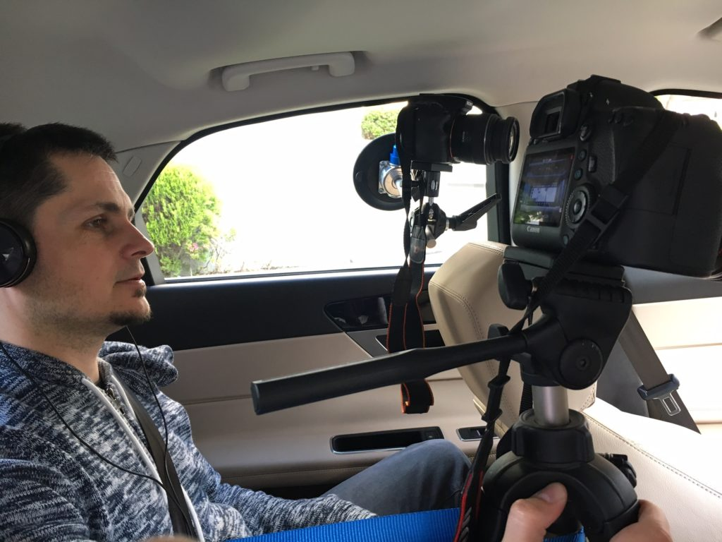 Filming the inside of a car in Japan for a case study video.