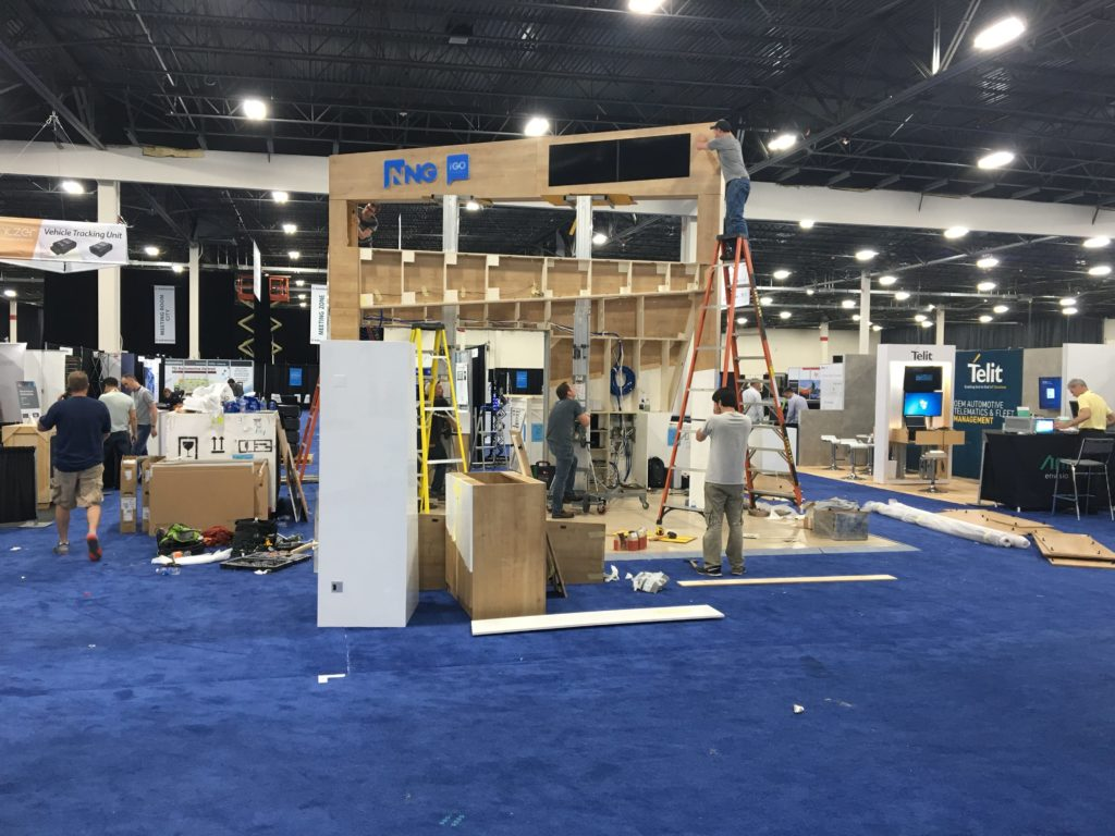 Building a booth at Telematics Detroit