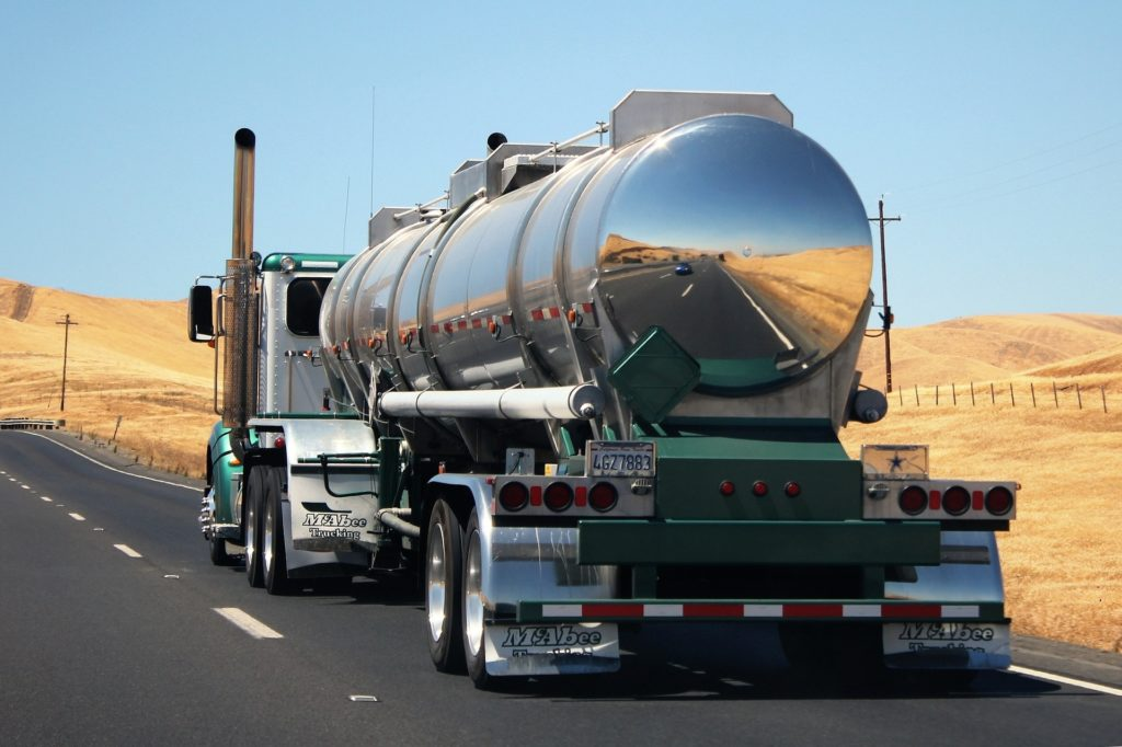 tanker truck on highway with navigation
