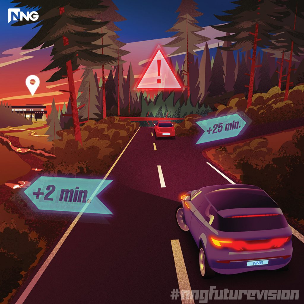 NNG Future Vision, Six-Word Stories, Automated Off-Road, Location-Based Services, LBS, NNG OFF-ROAD, Automotive, Road Blocked. Automated off-road route available