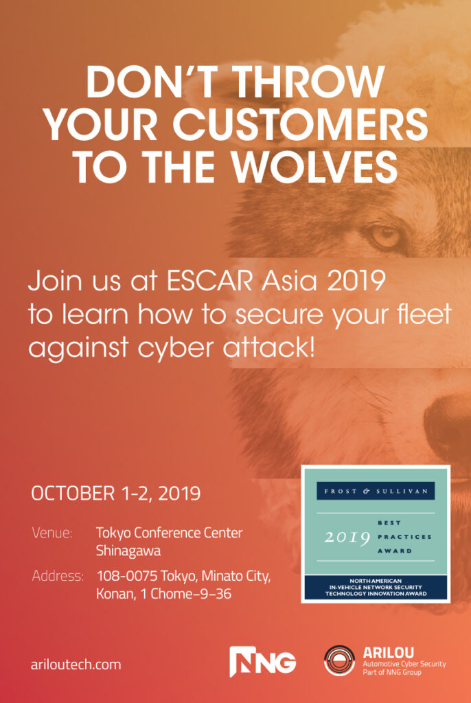 NNG, Arilou, ESCAR ASIA, 2019, CAN Bus, Ethernet, IDPS, PIPS, Automotive, Cyber Security