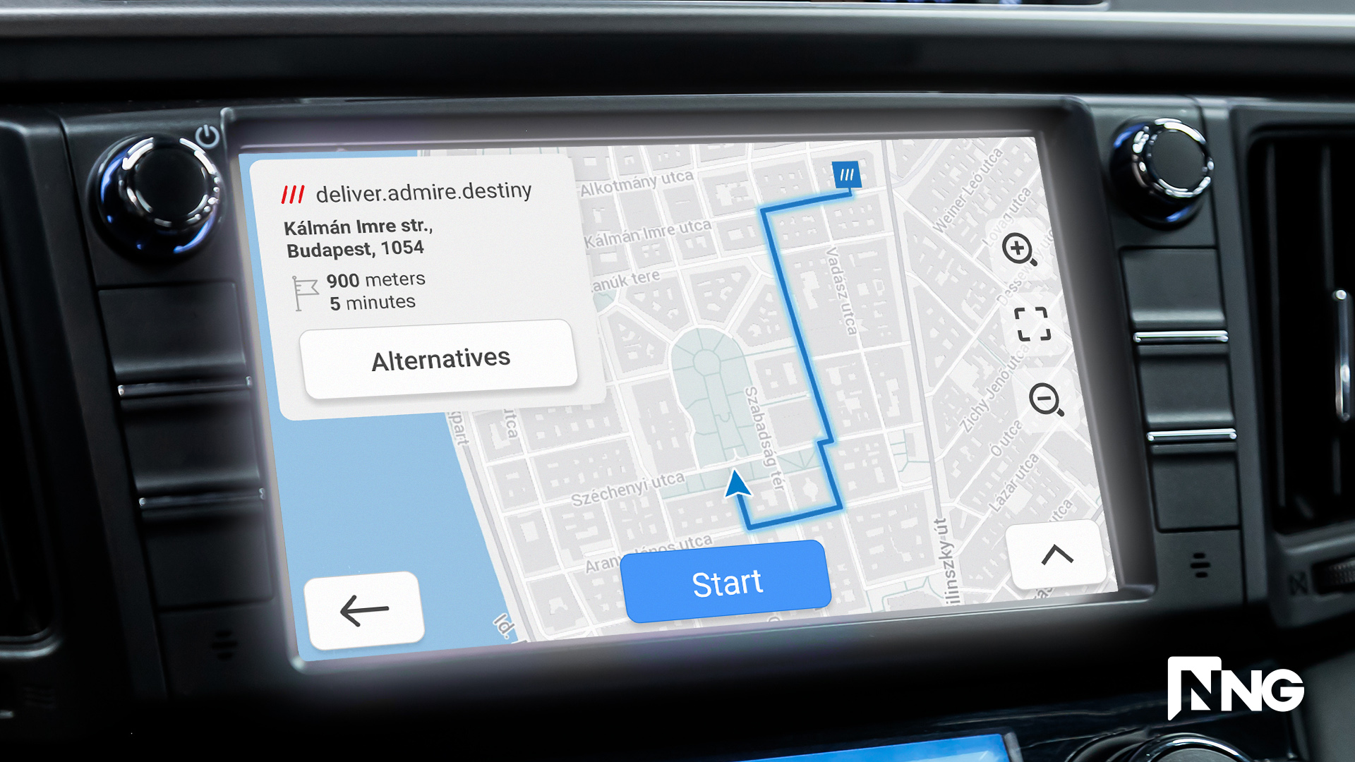 NNG head unit UI with what3words functionality